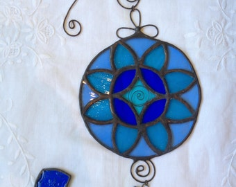 HANDMADE MANDALA   Blue Colors with Filigree.Ethnic Stained Glass,Wall Hanging,Tiffany Art,Special Suncatcher Gift, Original design by PAULA