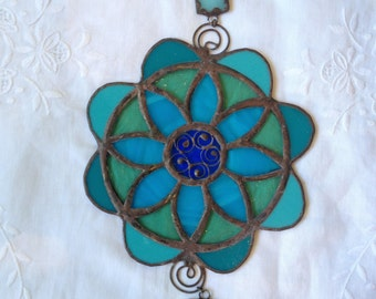 HANDMADE MANDALA FLOWER Blue,Turquoise,Green Color with Filigree.Ethnic Stained Glass,Wall Hanging,Tiffany Art Gift,Original design by Paula