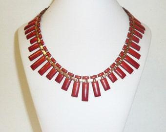 Vintage MATISSE RENOIR Red Enamel Copper Necklace Modernist Statement Bib Signed Designer Choker