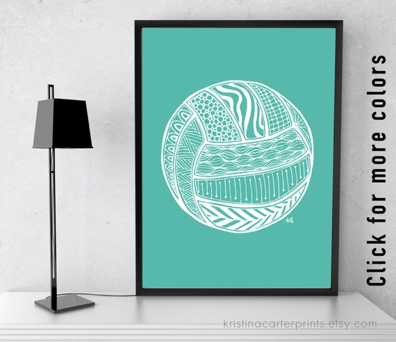 Volleyball Art Print Zentangle Drawing Instant Printable