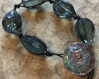 Blue Chinese Crystal Leather Bracelet