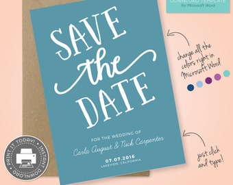 Save The Date Printable Template for Microsoft Word  - Carla Style, Teal, Muted - DIY - Editable text and Colors!