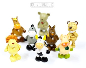1 pcs Decoden / PVC / Lovely / Nici / Animal / Cow / Horse / Lion / Tiger / Pendant / Miniature / Dollhouse / 3cm / EU306