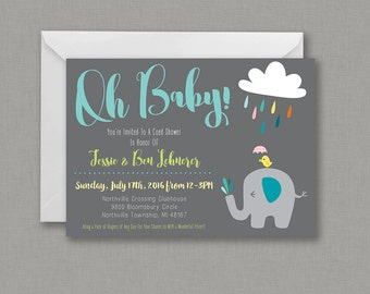 Oh Baby! 5x7 Baby Shower Invitation - Double Sided, It's A Boy, It's A Girl, Pinks, Blues, Baby Elephant - Digital File
