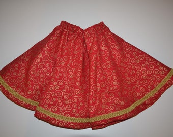 Red Cotton Gold Scroll Twirly Skirt