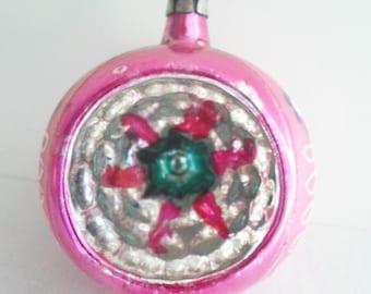 Vintage Christmas Ornament, Poland Indent Ornament, Pink Christmas Ornament, Glass Christmas Ornament, Indent Christmas Ornament,