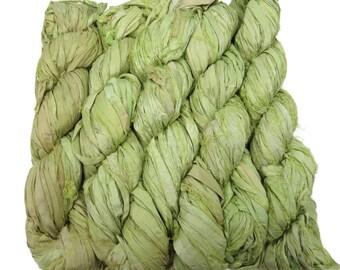 New! Sari Silk Ribbon yarn , 100g skein,  Lemon/Lime