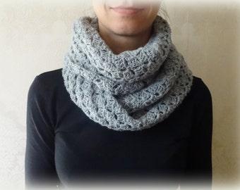 Infinity Scarf Crochet Circle Scarf Gray Wool Chunky Infinity Scarf Crochet Neck Warmer