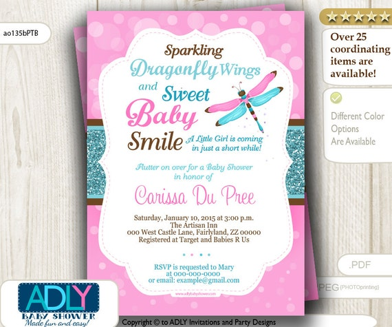 Pink teal brown dragonfly baby shower invitation with bokeh pink il570xn filmwisefo