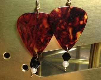 Tortoise Shell Guitar Pick Dangle Earrings