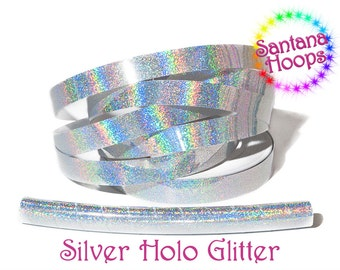 Silver Holographic Glitter Fully Taped Performance Hula Hoop Polypro or HDPE