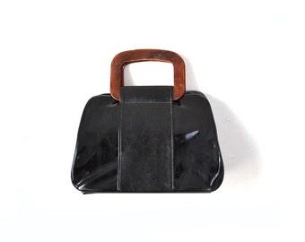 1960s Purse 60s Purse Black Purse black bag 60s Bag 1960s Bag Black Mod Purse Patent Leather Purse Black Patent Purse Bakelite Handle Purse