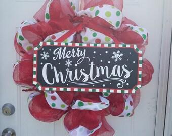 Merry Christmas Decomesh Wreath