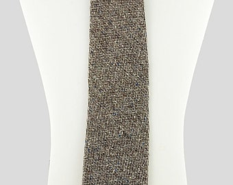 Wool Necktie Woven white and brown Twill variation, Collegiate and Natty, Made to order from vintage mid century English wool fabric