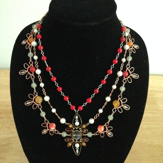 Autumn Leaves Wire-Wrapped Statement Necklace
