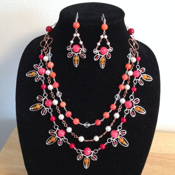 Jewel-Tone 'Summer Citrus' Layered Necklace and Matching Earrings Set