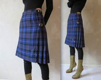 PURPLE scottish wool plaid tartan kilt wrap grungy vtg skirt sz S