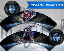 Transformers Optimus Prime Cupcake Wrappers - PRINTABLE INSTANT DOWNLOAD
