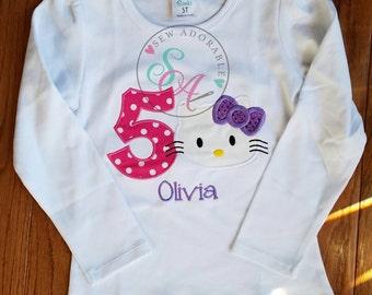 Hello Kitty birthday Shirt, personalized birthday shirt, hello kitty party