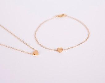 Set Golden Necklace And Bracelet  Gold Heart Love Chain Hearts Gold Plated Chain Gold Plated Perl Heartbead Bead