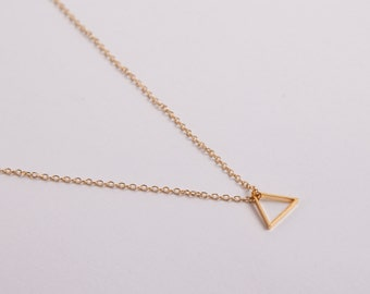 Rose Gold Plated Necklace Triangle Rosegolden Necklace Minimal Jewelry Necklace Triangle
