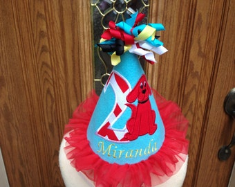 Girls Birthday Hat - Clifford The Big Red Dog Theme