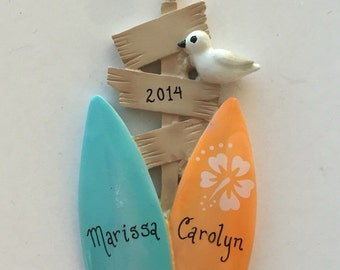 Couple Surfboards // Personalized Christmas Ornament // 2 Surf boards // Personalized Family Ornament / Beach Ornament / Christmas Gift