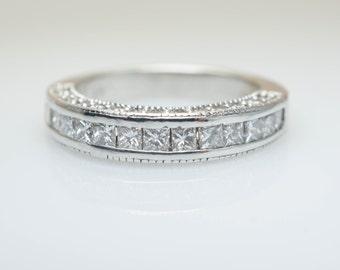 Vintage .97CT Diamond Wedding Band Anniversary Band Wedding Ring 14k White Gold Intricate Wedding Band Diamond Band