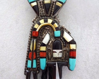Signed Vintage ZUNI Sterling Silver Mosaic Inlay RAINBOW Man Bola BOLO Cellicion