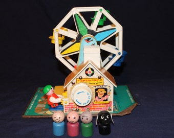 1966 Fisher Price Little People Working FERRIS WHEEL 969 with All Wooden Peoples
