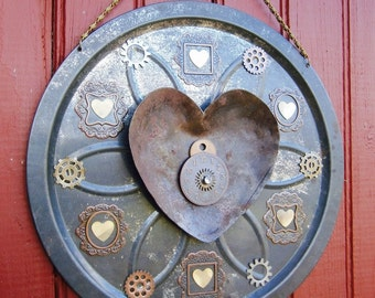 Handmade Repurposed Recycled Tin Lid Hearts And Gears Wall Art