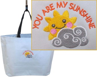 You Are My Sunshine Essential Style Tote Bag Custom Embroidered Baby Shower Gift