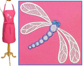 Pretty Dragonfly Apron Child or Adult Monogram Insect Smock Custom Embroidered