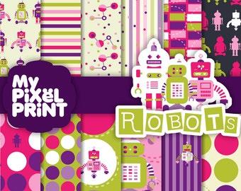 Robots - Pink Violet Green - Kids - Digital Scrapbooking Paper Pack - My Pixel Print