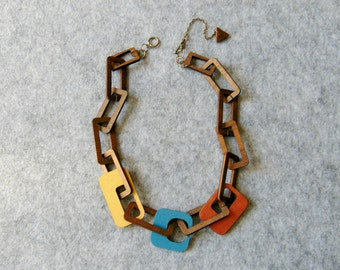 Thick Chain Necklace, Wooden Links Necklace, Wood chain Necklace,