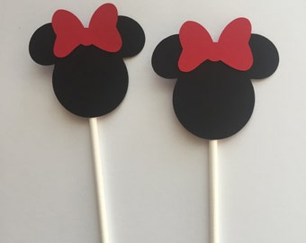 Minnie Mouse Cupcake Toppers, Minnie Mouse