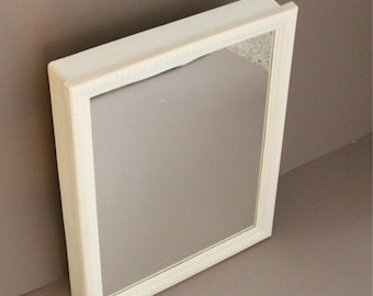 Vintage White Medicine Cabinet With Glass Mirror Bathroom Plastic