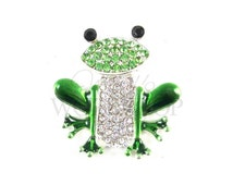 Frog - Set of 3 Metal Buttons - 25mm Rhinestone Buttons - MB-316