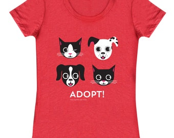 ADOPT Dog and Cat Tee Shirt - Heather Red Slim-fit Ladies' Tee on Sale!