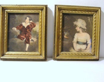 Two Beautiful Vintage Framed Prints one of a Young Boy and one of a Young Lady Finely Dressed