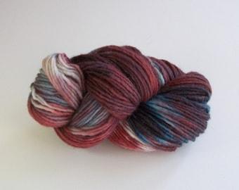 Hand dyed wool yarn worsted weight, handpainted yarn wool, 180+ yds.