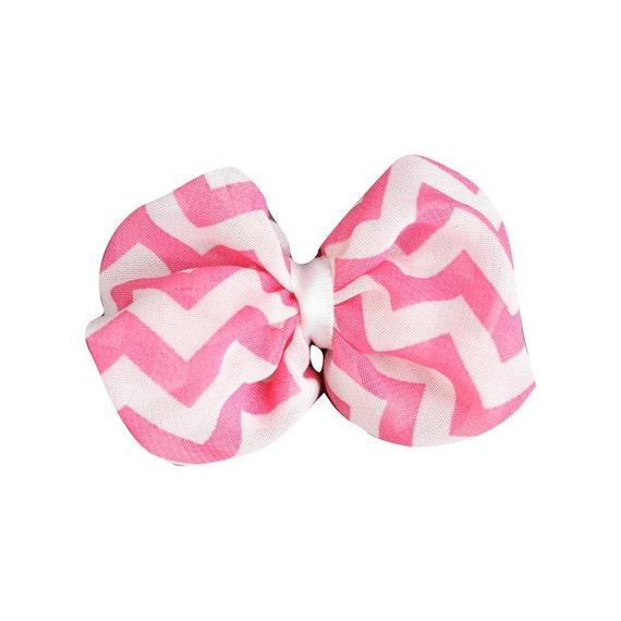 Hot Pink, Chiffon Bows, Small Fabric Bow, Chevron Print 2