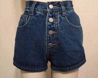 Vintage button up denim shorts XS