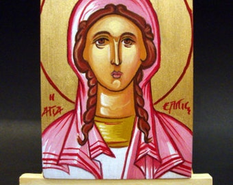 Saint Hope Elpis Elpida Handmade Greek Small Byzantine Orthodox Style Icon On Wood 9.5 x 12 cm