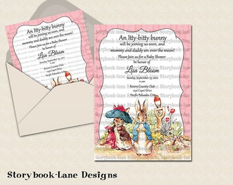 Peter rabbit and benjamin bunny  Pink Invitation for All Occasions