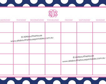 11 x 17 in Message Board Printable Calendar Perpetual Family