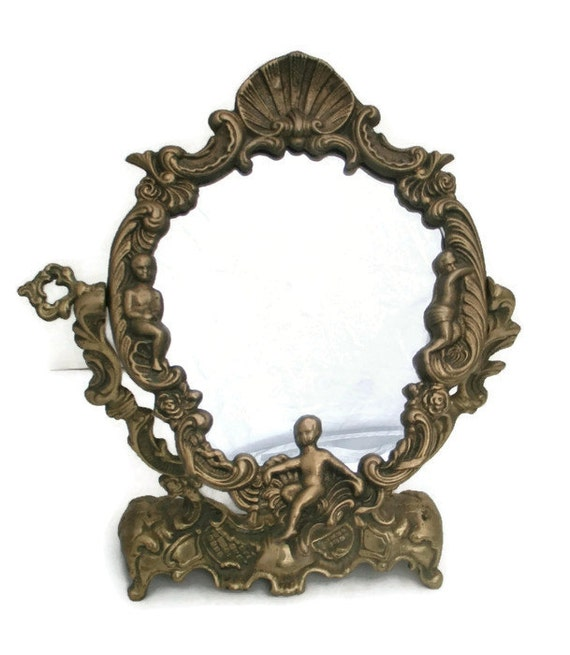 Like this item? - French Bronze Cherub Mirror Vanity Stand Ornate Rococo Style
