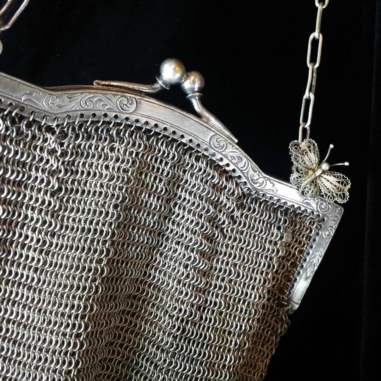 Antique German Silver Mesh Purse Butterfly Broach Handbag Art