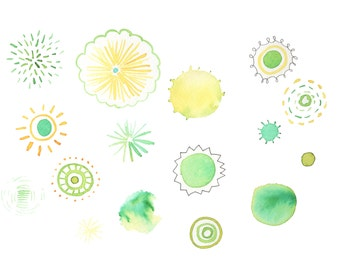 Digital Clip Art,  Original Watercolor doodles in greens and yellows. Use these for invitations, labels, etc. instant download