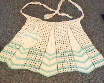 Aqua and white crocheted half apron